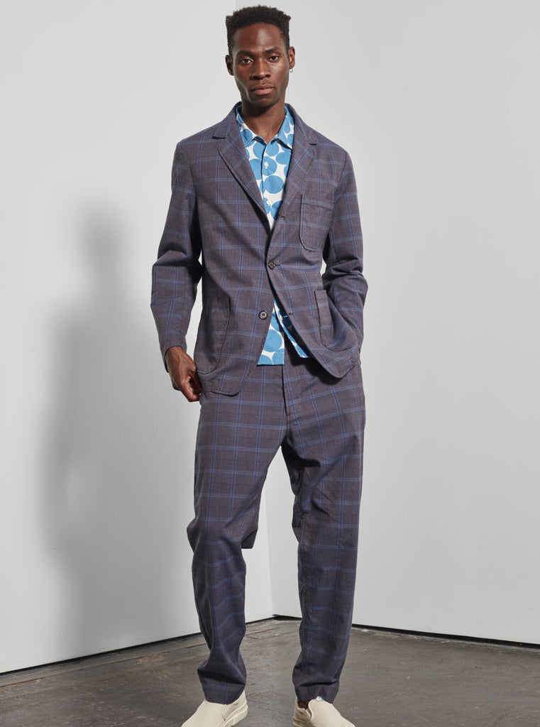 Universal Works Three Button Jacket in Brown Cot Check Suiting