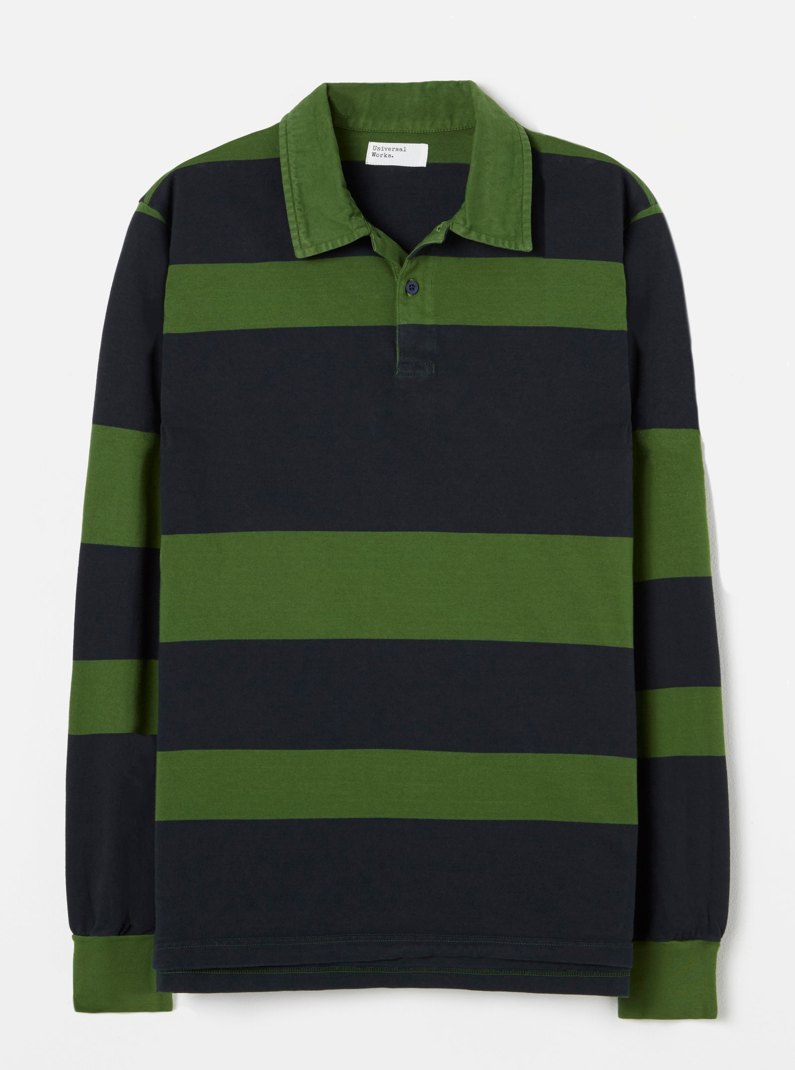 Universal Works Rugby Shirt in Green Stripe