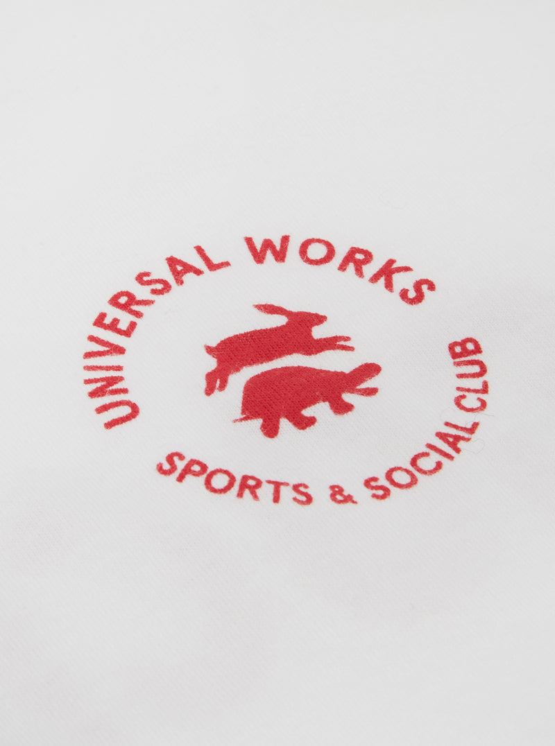 Universal Works S&SC Print Tee in Ecru Single Jersey