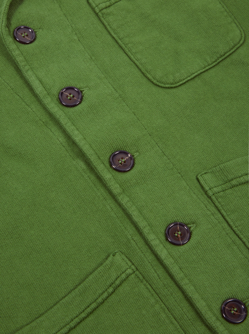 Universal Works Prairie Jacket in Green Dry Handle Loopback