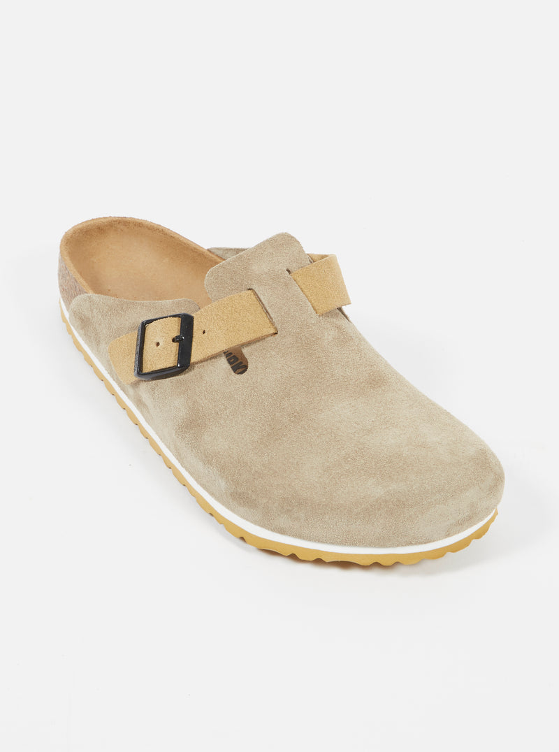 Universal Works x Birkenstock Boston in Taupe/Sand Suede