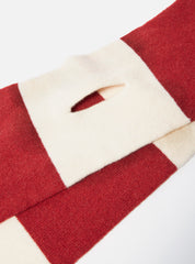 Deluxe Football Scarf in Ecru/Red Soft Wool