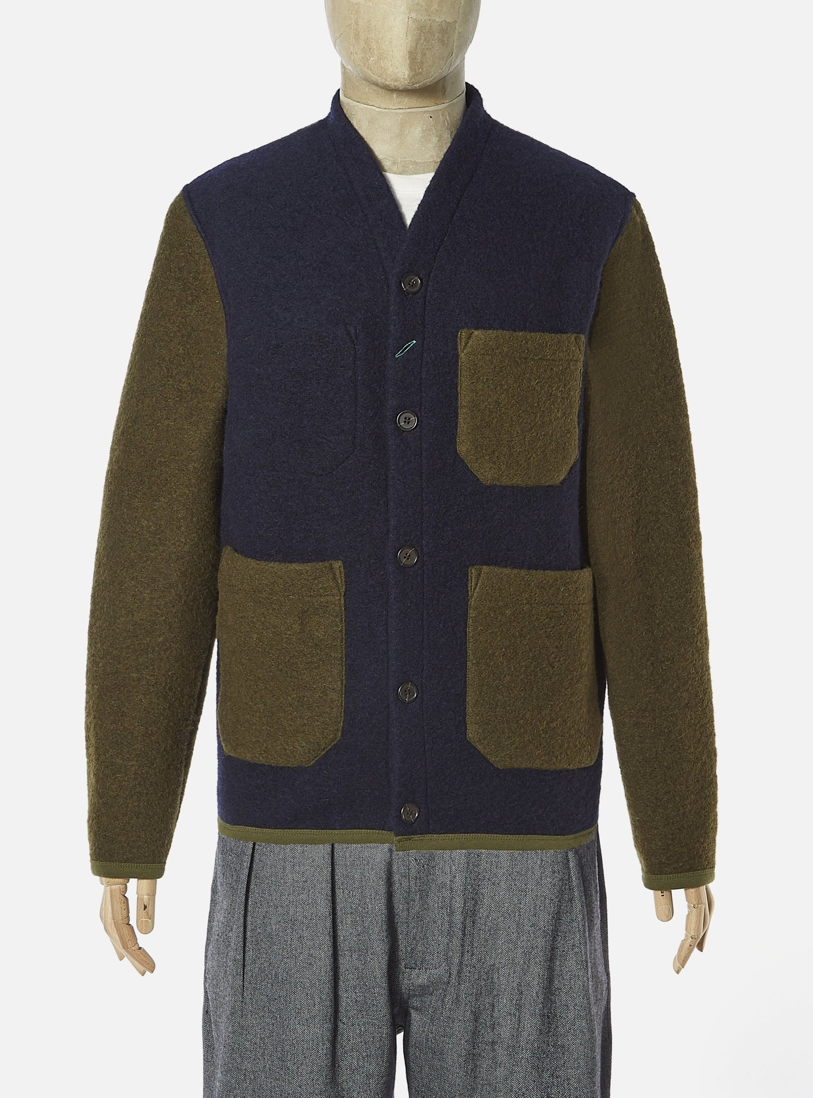 Universal Works for Esquire Two Colour Cardigan in Olive/Navy Wool Fleece