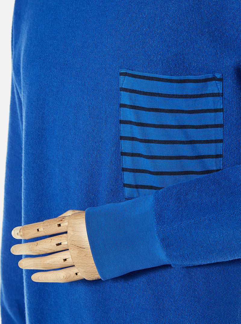 The Pilgrm x Universal Works Loose Pullover in Dazzling Blue Loopback Sweat