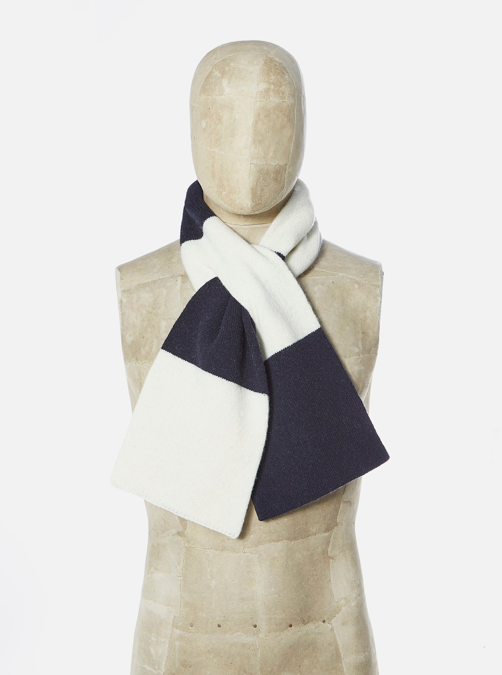 Universal Works Deluxe Football Scarf in Navy/Ecru Soft Wool