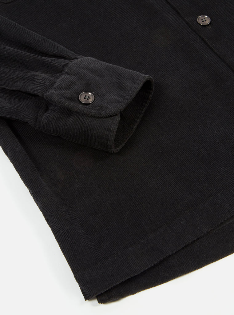 Universal Works L/S Utility Shirt in Black Fine Cord