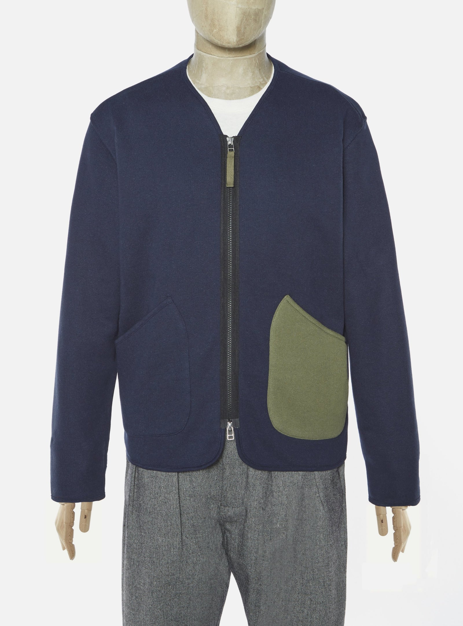 Universal Works Zip Liner Jacket in Navy Organic Mix Fleece