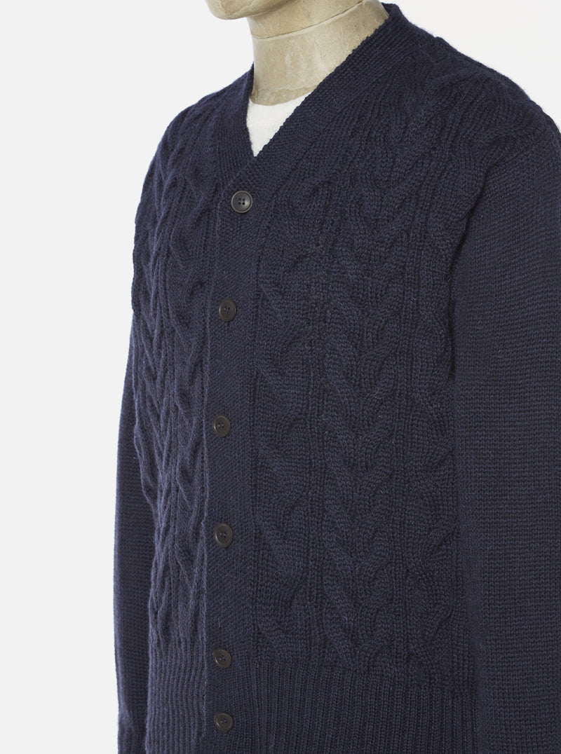 Universal Works Cable Knit Cardigan in Navy British Wool