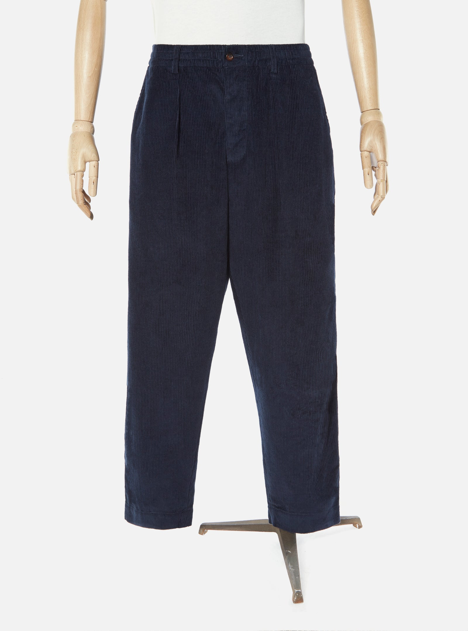 Universal Works Pleated Track Pant in Navy 8 Wale Cord
