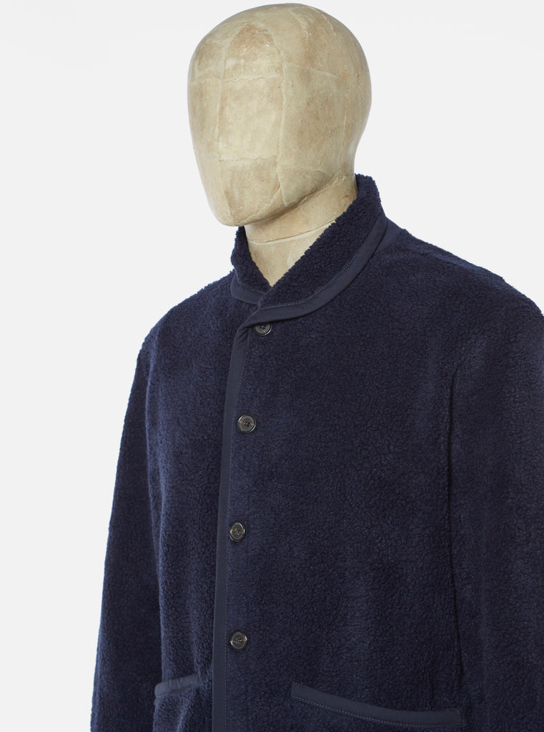 Universal Works Lancaster Jacket in Navy Mountain Fleece