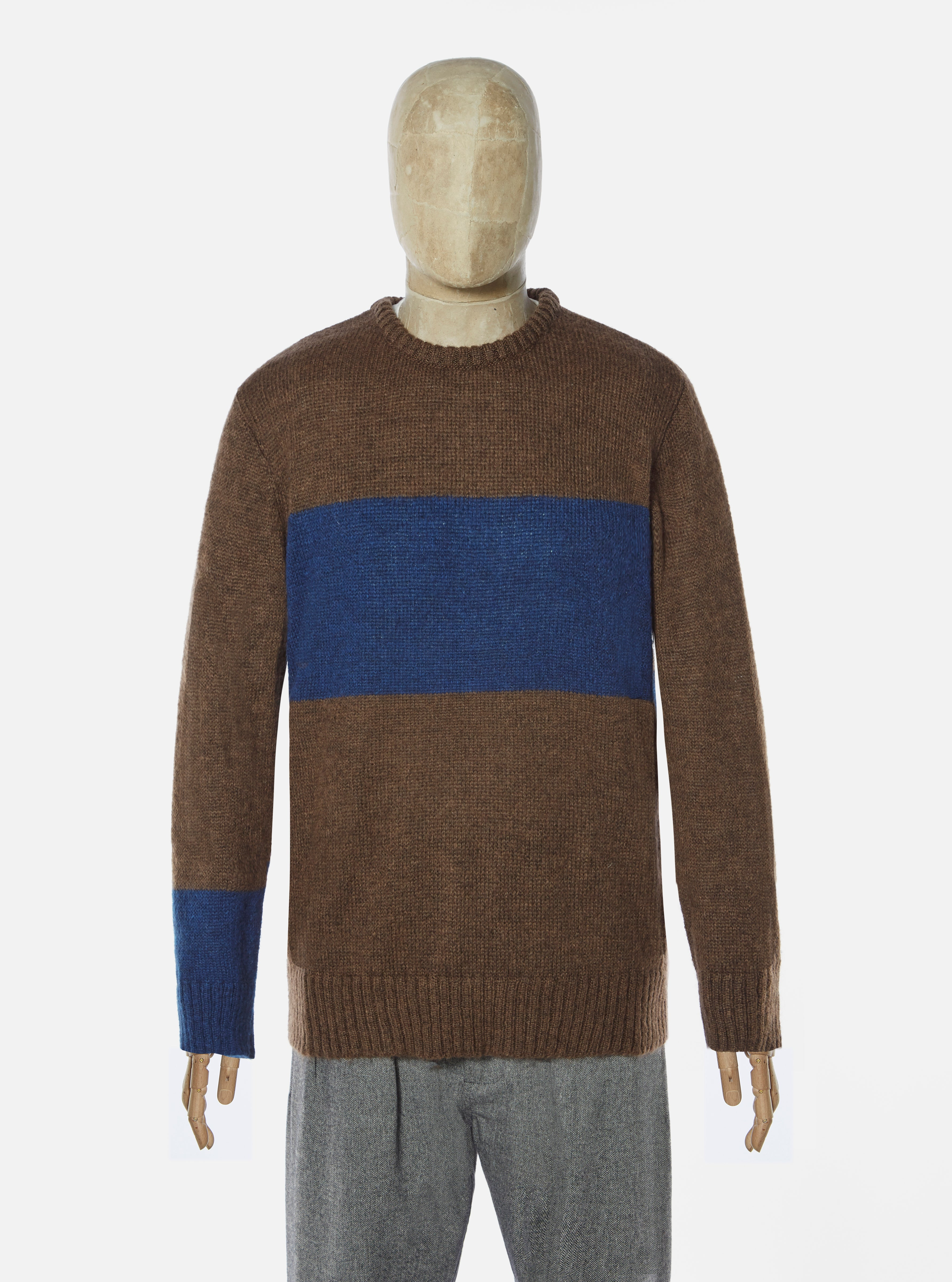 Universal Works Stripe Crew in Chocolate Mohair Knit