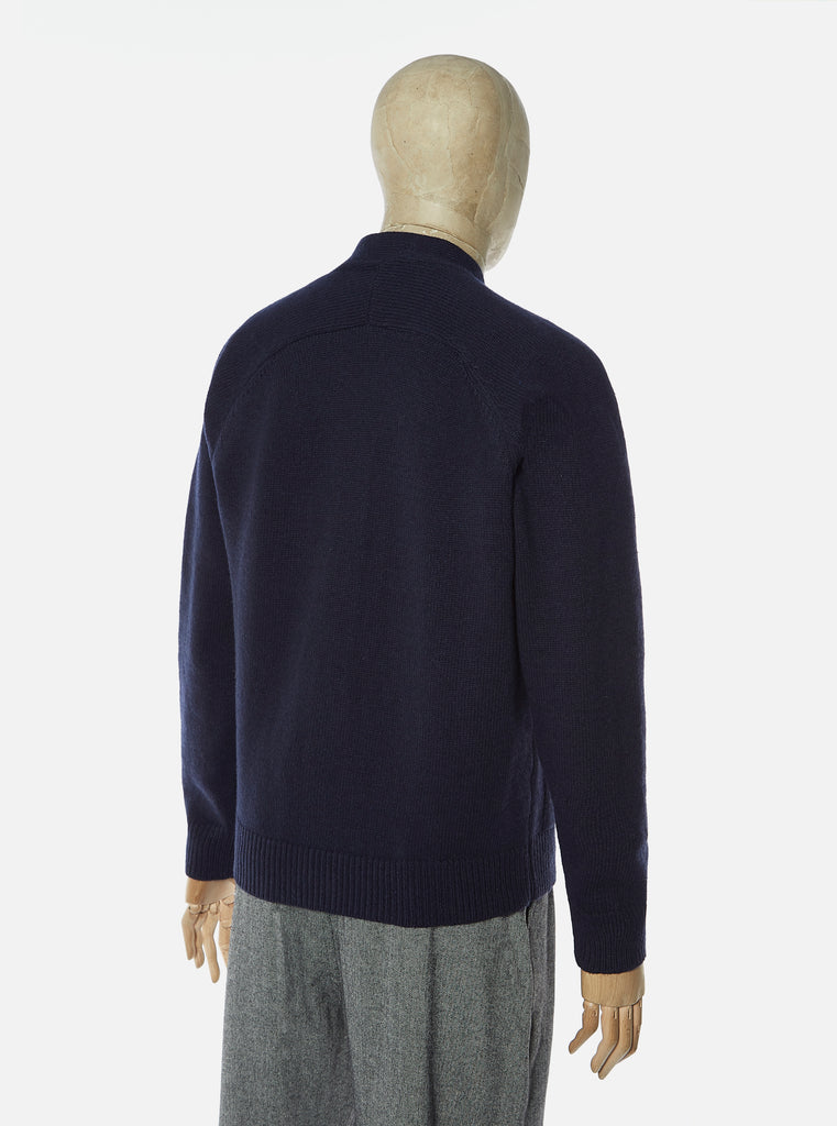 Universal Works Vince Cardigan in Navy Recycled Wool