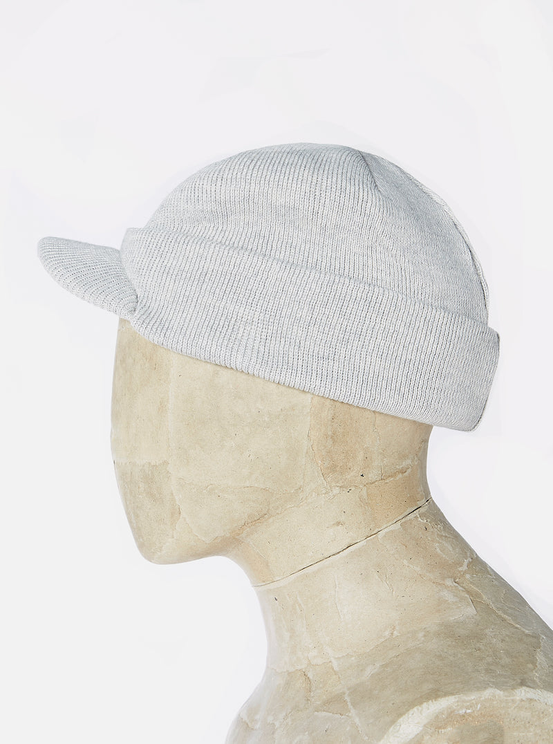 Universal Works Peak Watch Cap in Grey Marl Merino ½ Cardigan