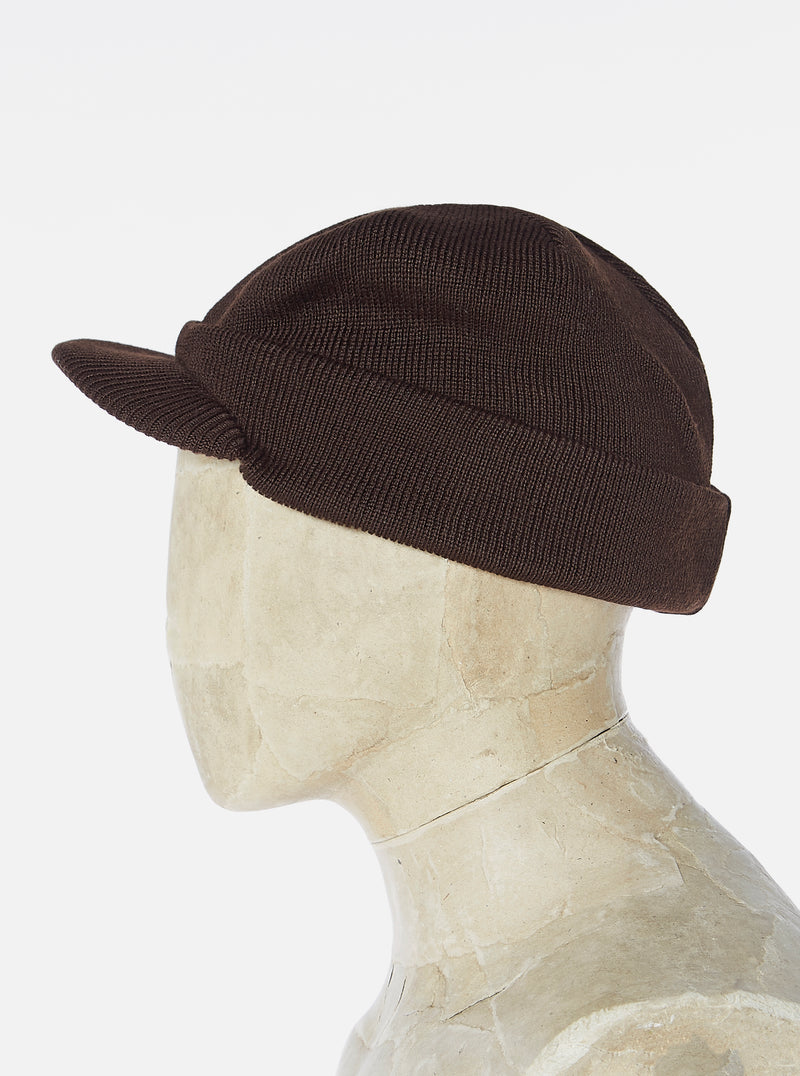 Universal Works Peak Watch Cap in Chocolate Merino ½ Cardigan