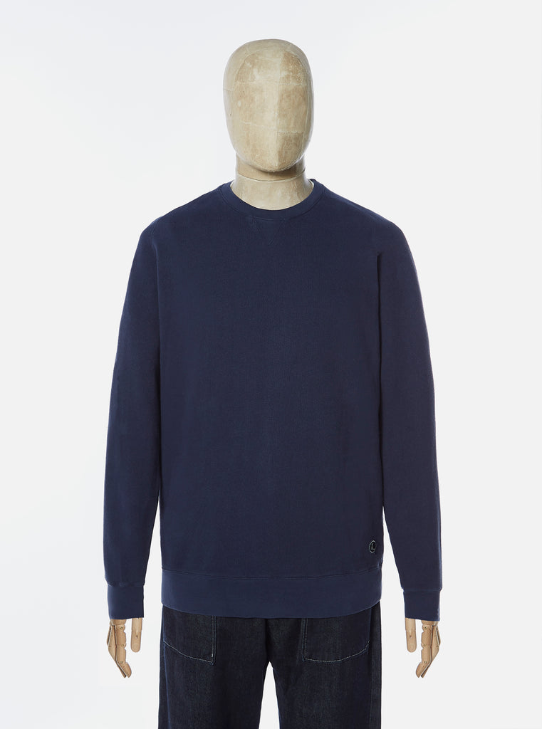Universal Works Classic Crew Sweatshirt in Navy Dry Handle Loopback