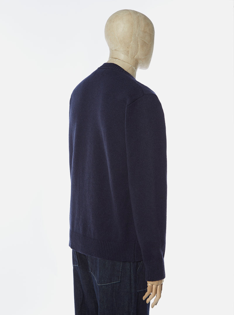 Universal Works Loose Crew in Navy Recycled Wool