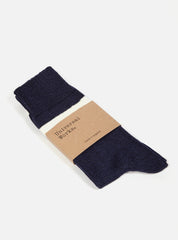 Universal Works Light Hoop Sock In Navy Marl Cotton