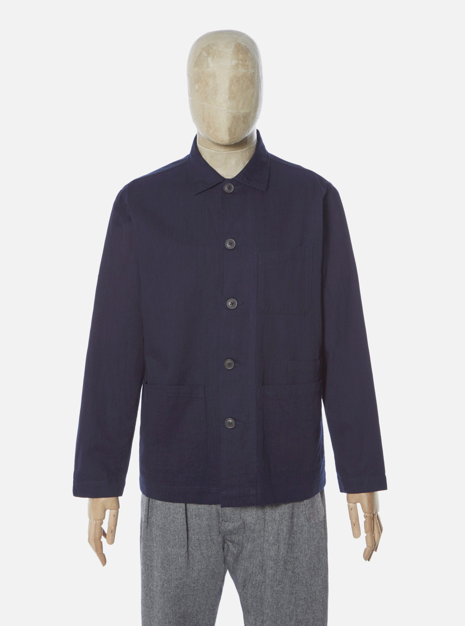 Universal Works Bakers Overshirt in Japanese Indigo Cotton
