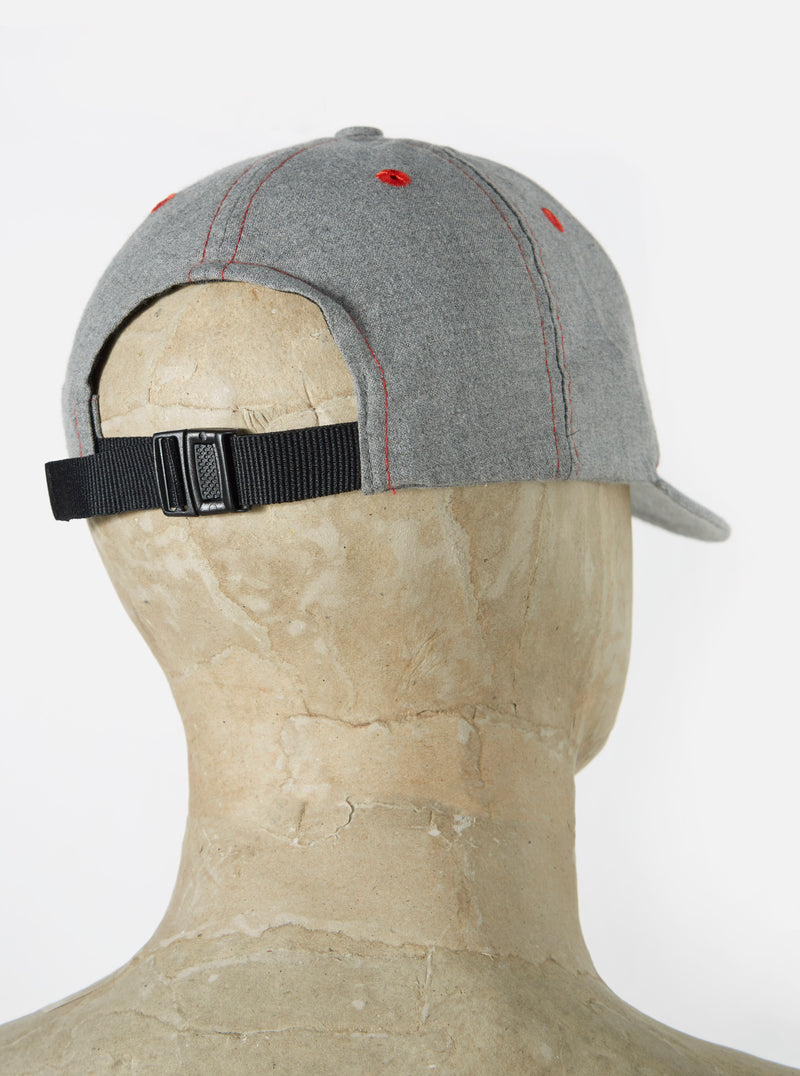 Universal Works Baseball Hat in Grey Cotton Mixed Suiting