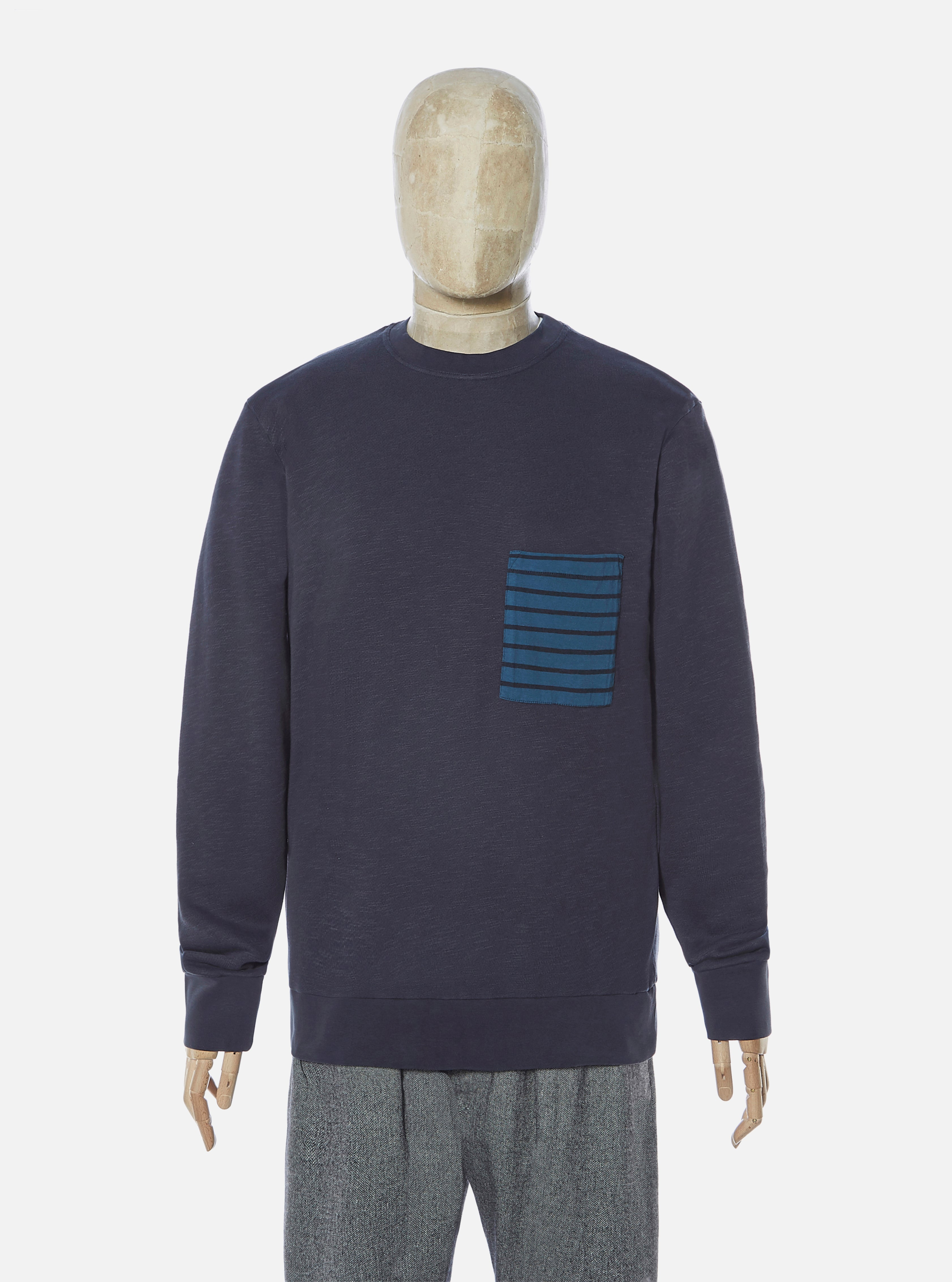The Pilgrm x Universal Works Loose Pullover in Navy 21 Loopback Sweat