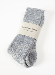 Universal Works Marl Sock In Grey Cotton Mix
