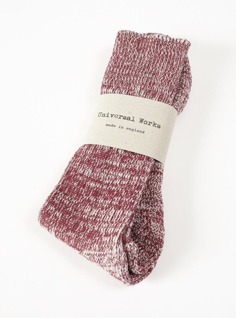Universal Works Marl Sock In Red Cotton Mix
