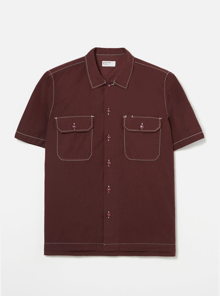 Universal Works Utility SS Shirt in Raisin Poplin