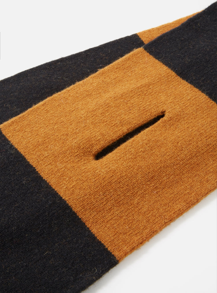 Universal Works Deluxe Football Scarf in Black/Gold Soft Wool