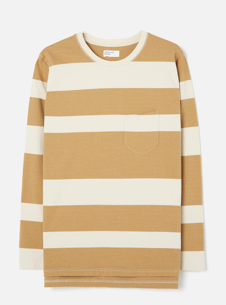 Universal Works Long Sleeve Tee in Ecru/Sand Rugby Stripe