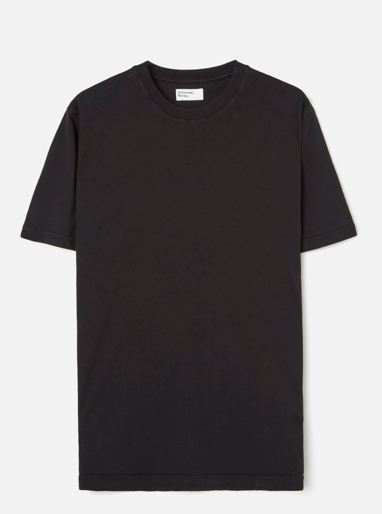 Universal Works Standard Tee in Black Single Jersey