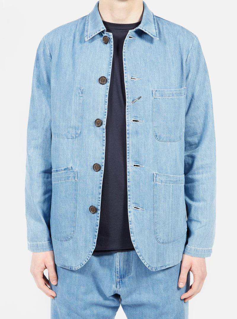 Universal Works Bakers Jacket in Indigo Summer Denim