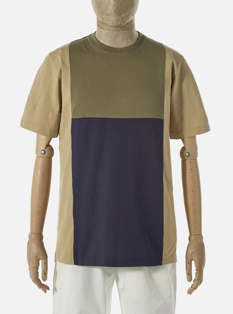 Universal Works 'Save That Jersey' Panel Tee in Stone Mixed