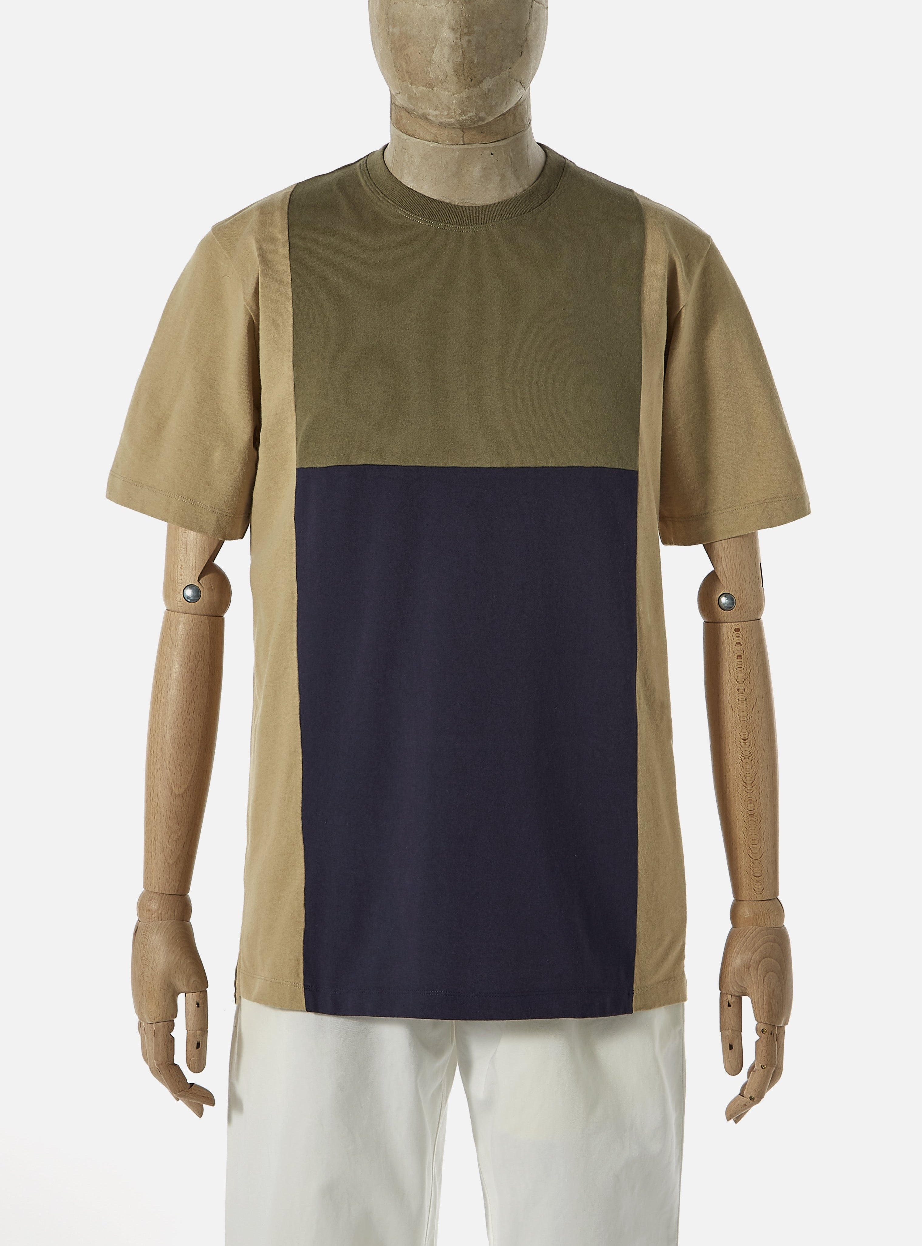 Universal Works 'Save That Jersey' Panel Tee in Olive Mixed