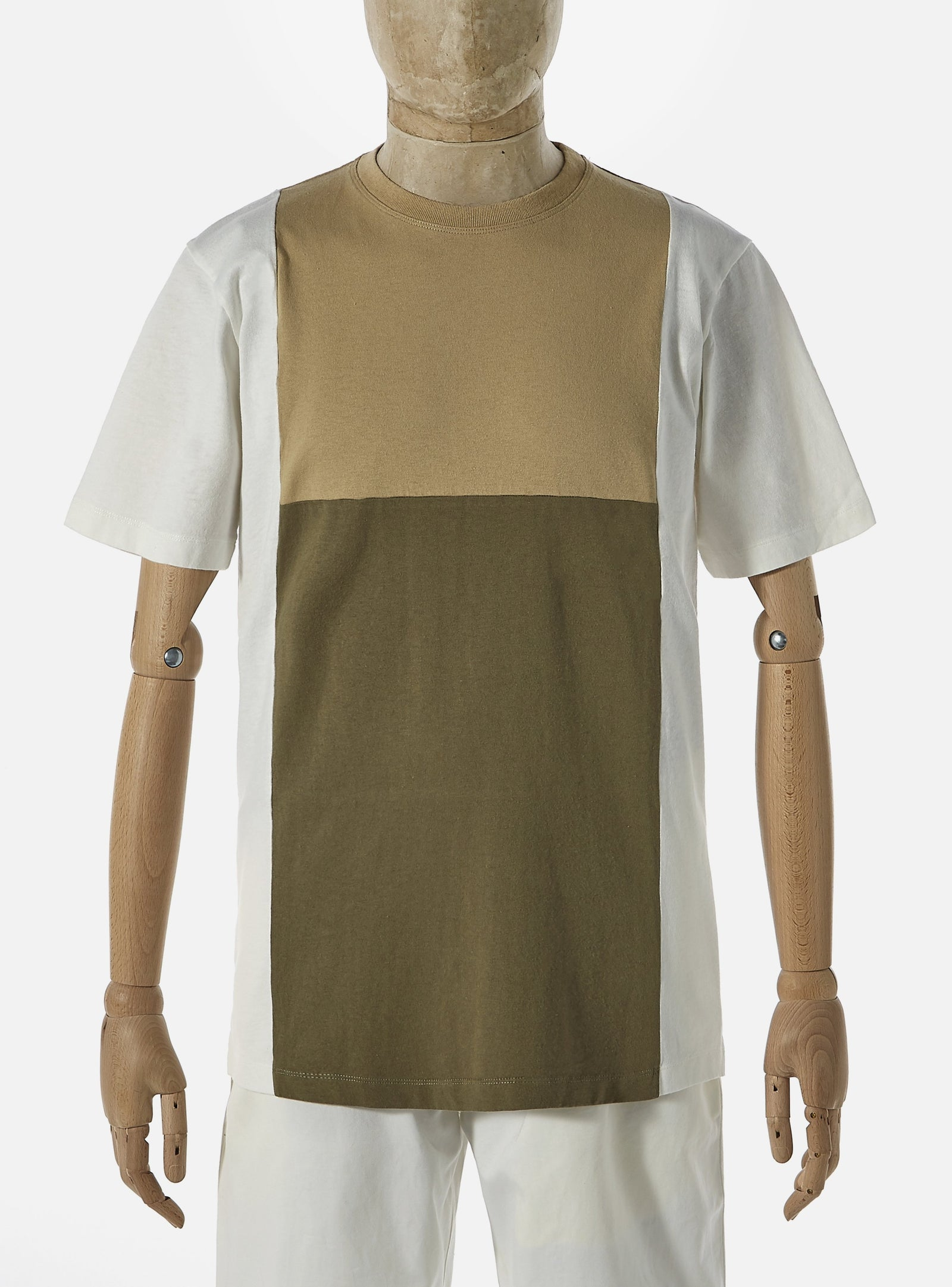 Universal Works 'Save That Jersey' Panel Tee in Ecru Mixed