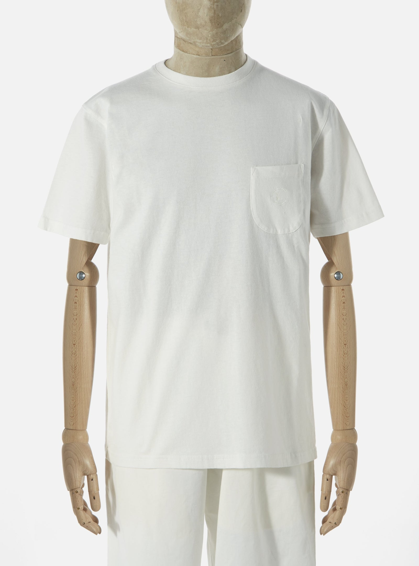 Universal Works 'Save That Jersey' Embroidered Pocket Tee in Ecru