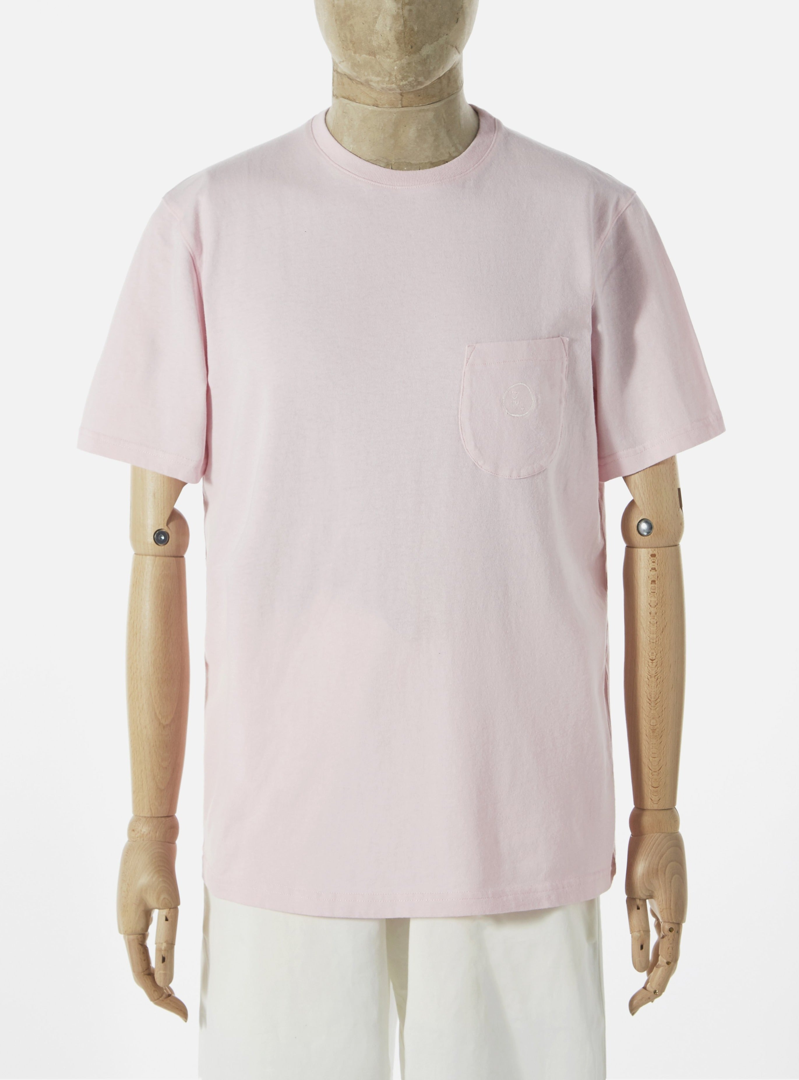 Universal Works 'Save That Jersey' Embroidered Pocket Tee in Pink