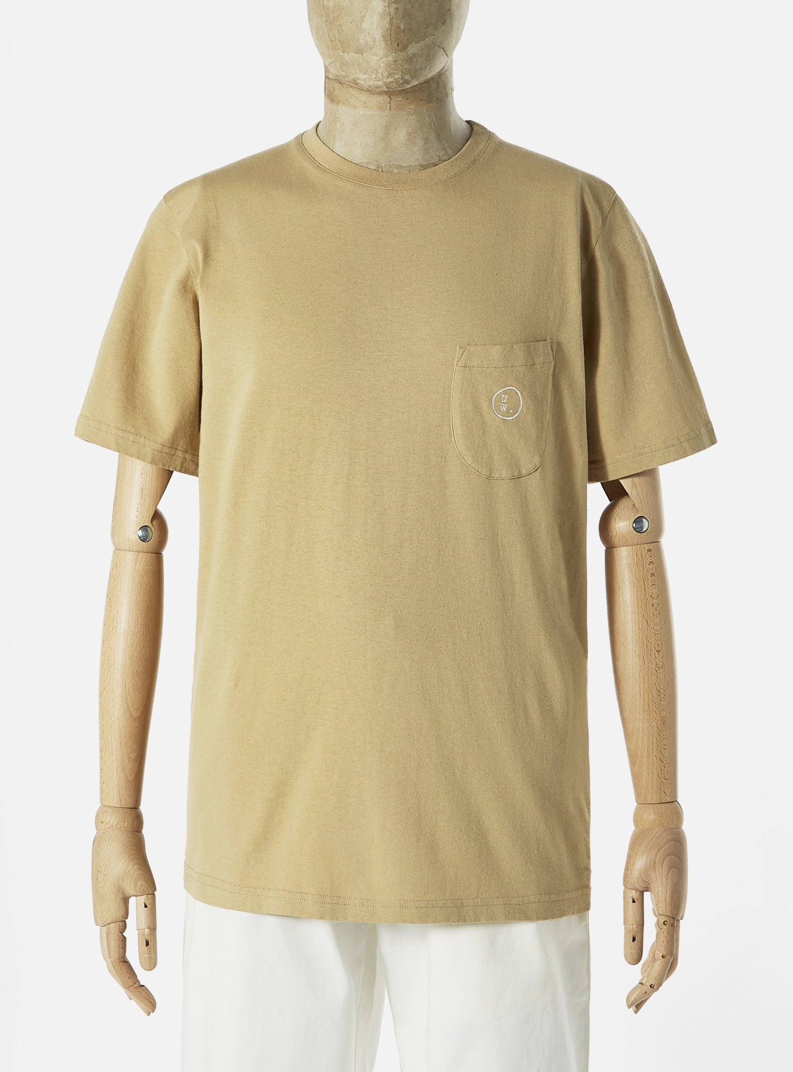 Universal Works 'Save That Jersey' Embroidered Pocket Tee in Stone