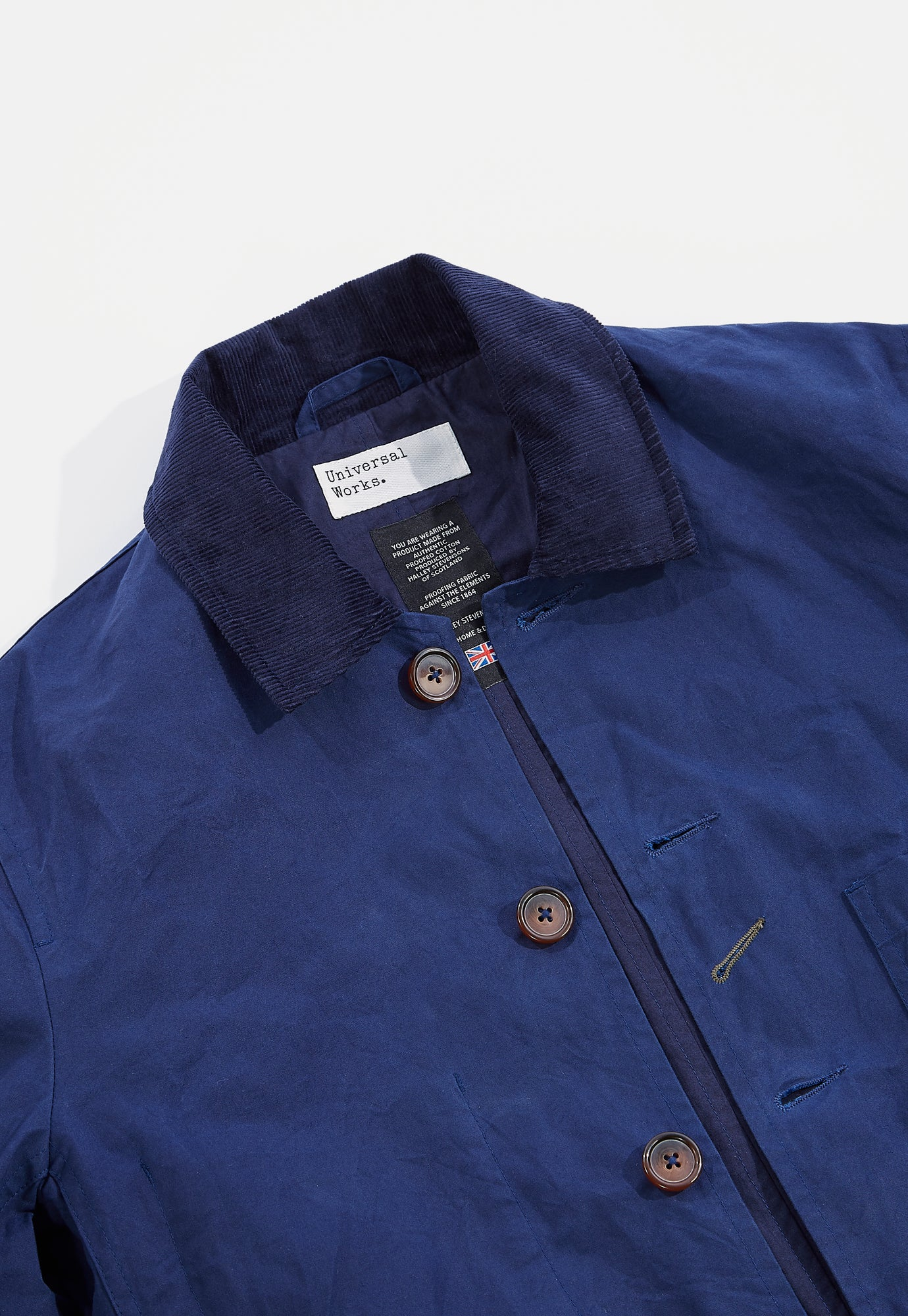 Universal Works Bakers Jacket in Navy Scottish Wax Cotton