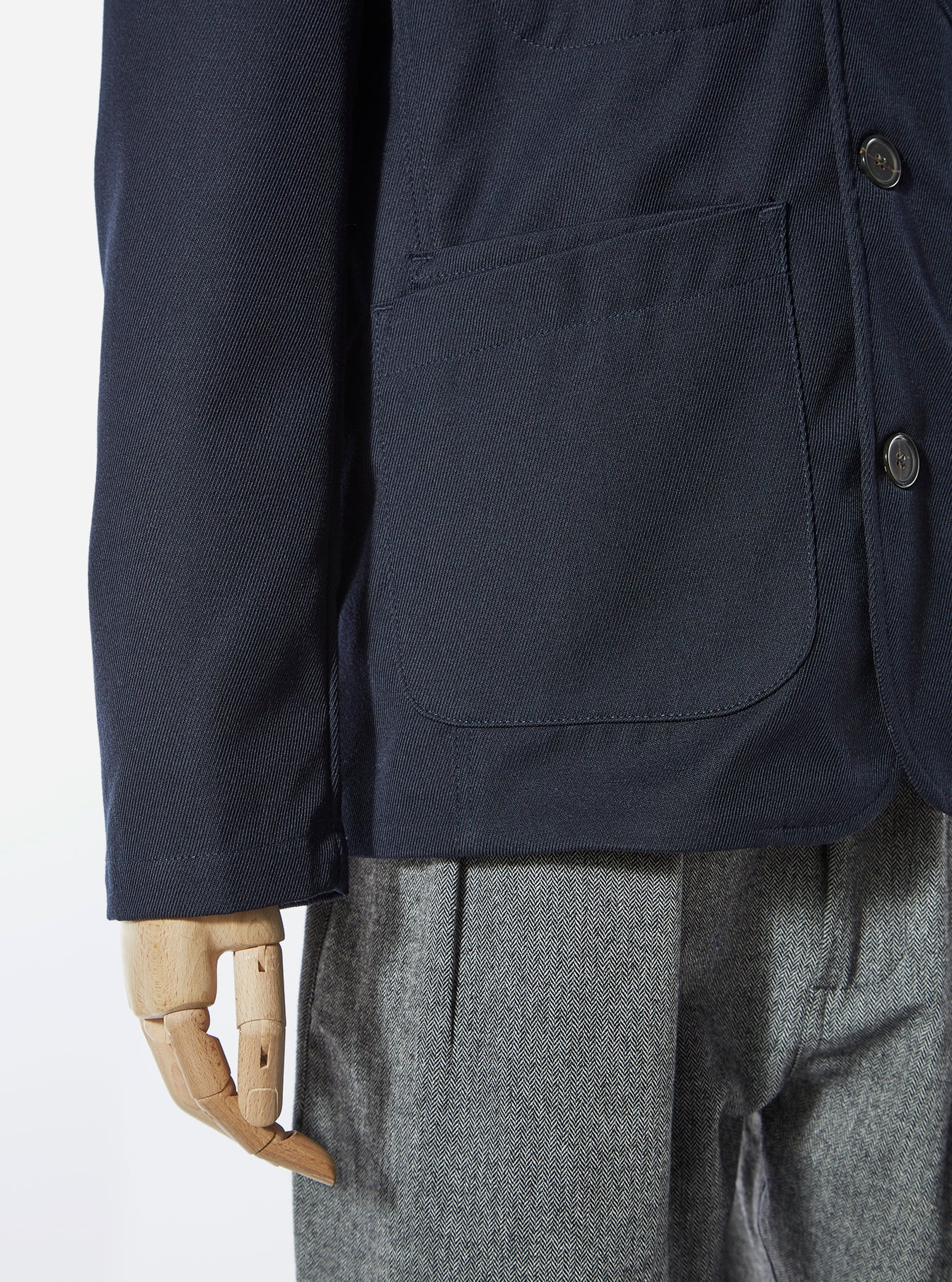 Universal Works Bakers Jacket in Navy Wool Twill