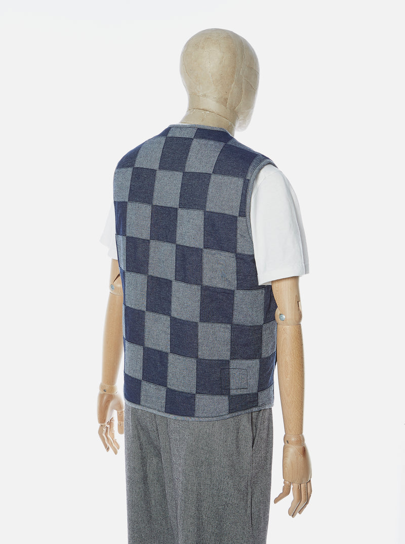 Universal Works Surfer Gilet in Indigo Patchwork Denim