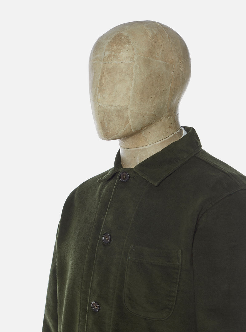 Universal Works Bakers Overshirt in Olive Moleskin