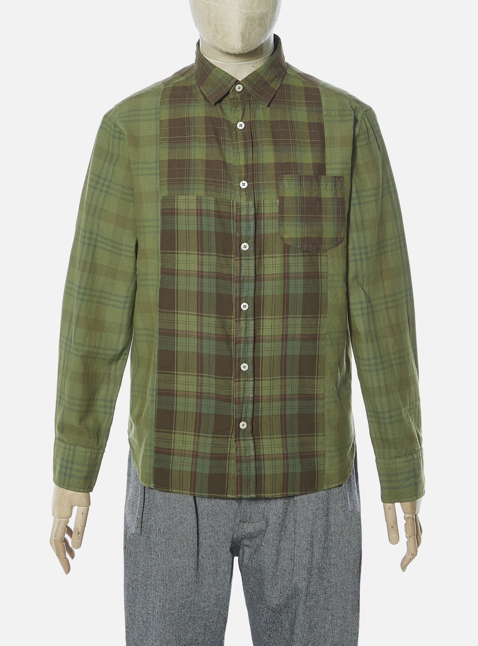 Universal Works Block Shirt in Olive Cotton Checks