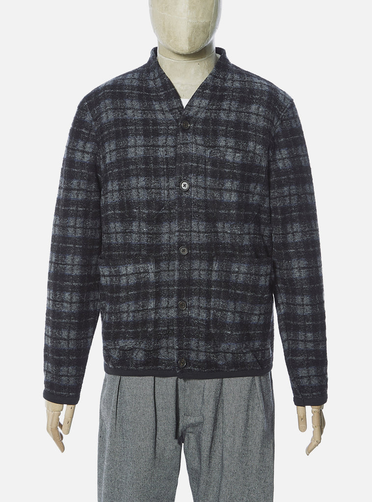 Universal Works Cardigan in Charcoal Dam Check