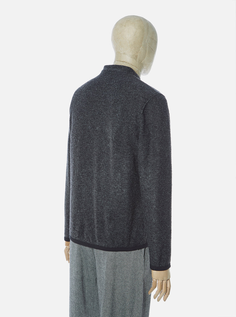 Universal Works Cardigan in Charcoal Dam Marl