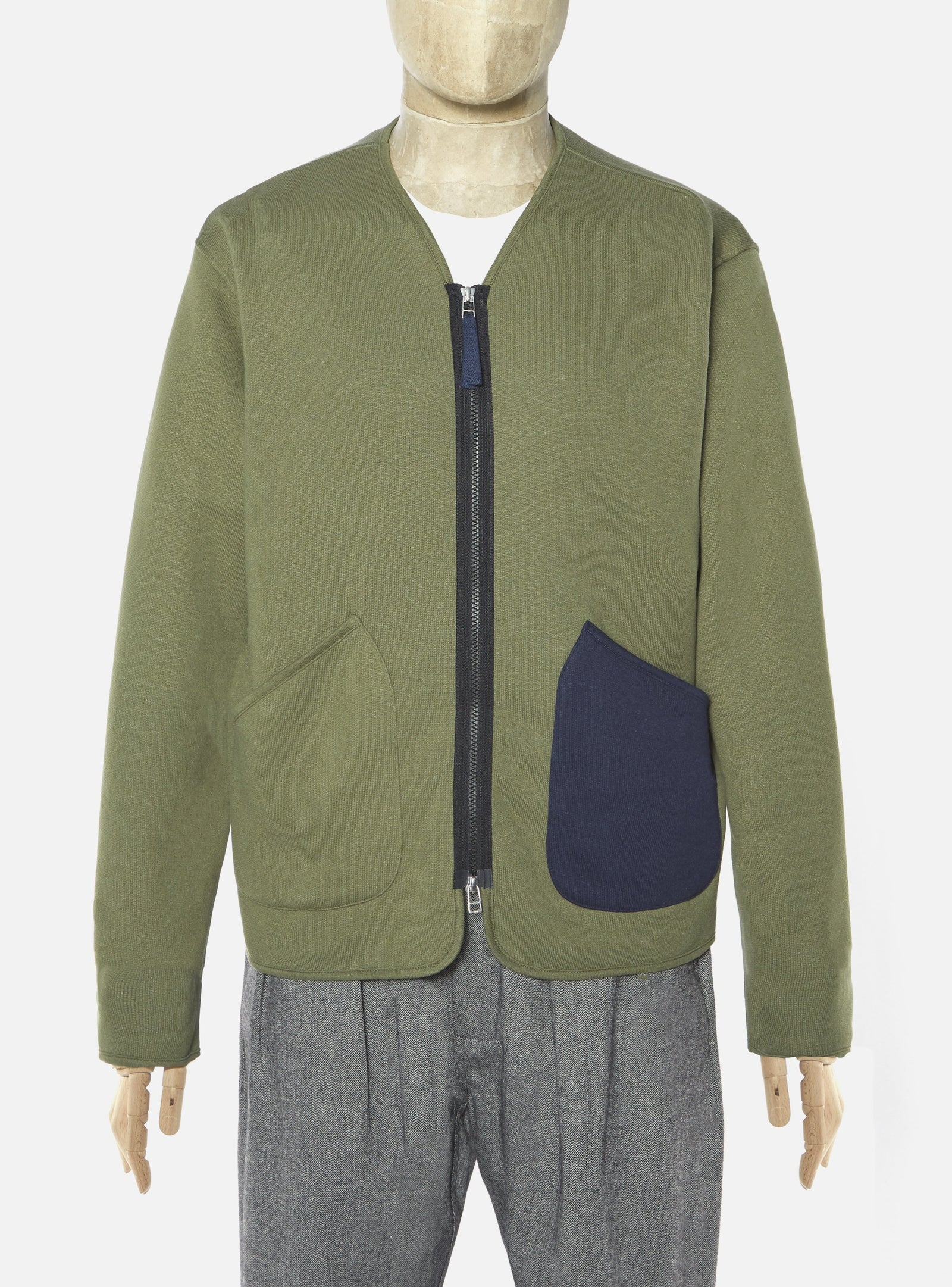Universal Works Zip Liner Jacket in Olive Organic Mix Fleece