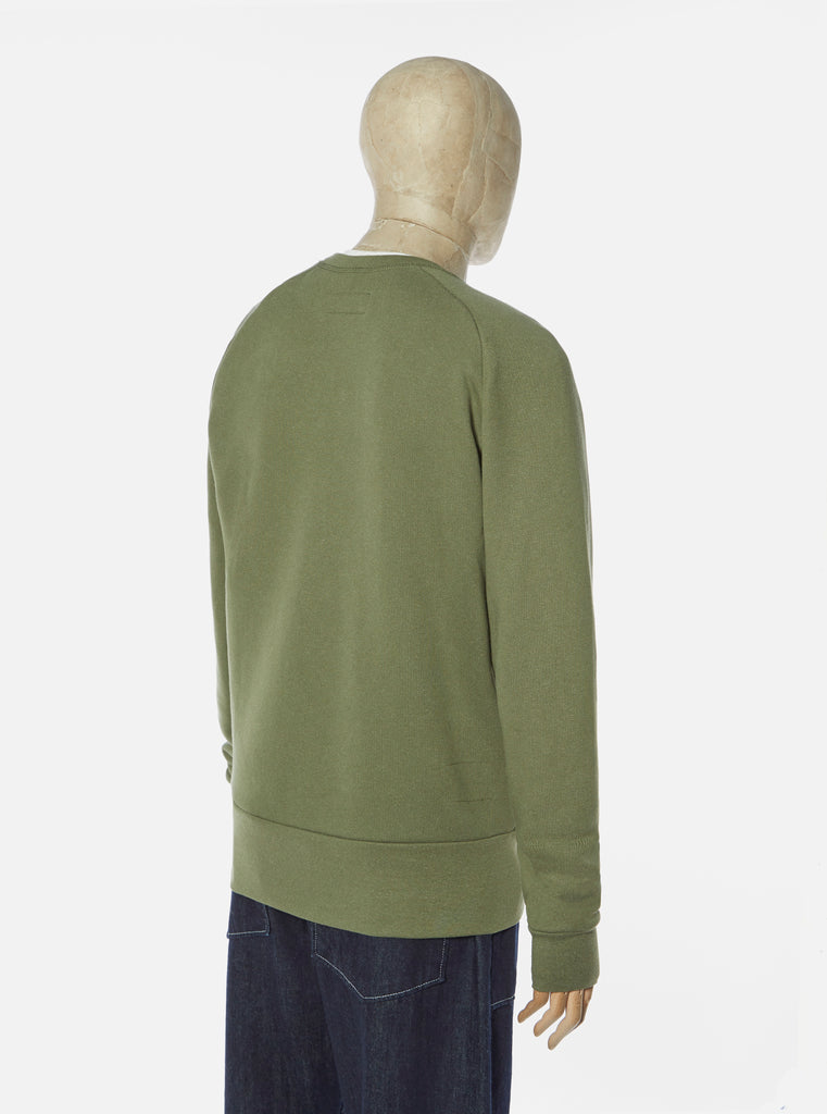 Universal Works Mr K Crew Sweatshirt in Olive Organic Mix Fleece