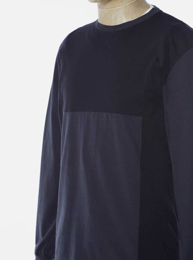 Universal Works L/S Panel Tee in Navy Mix Jersey