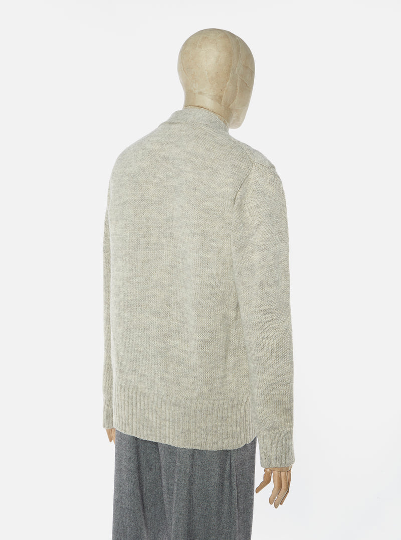 Universal Works Cable Knit Cardigan in Stone British Wool