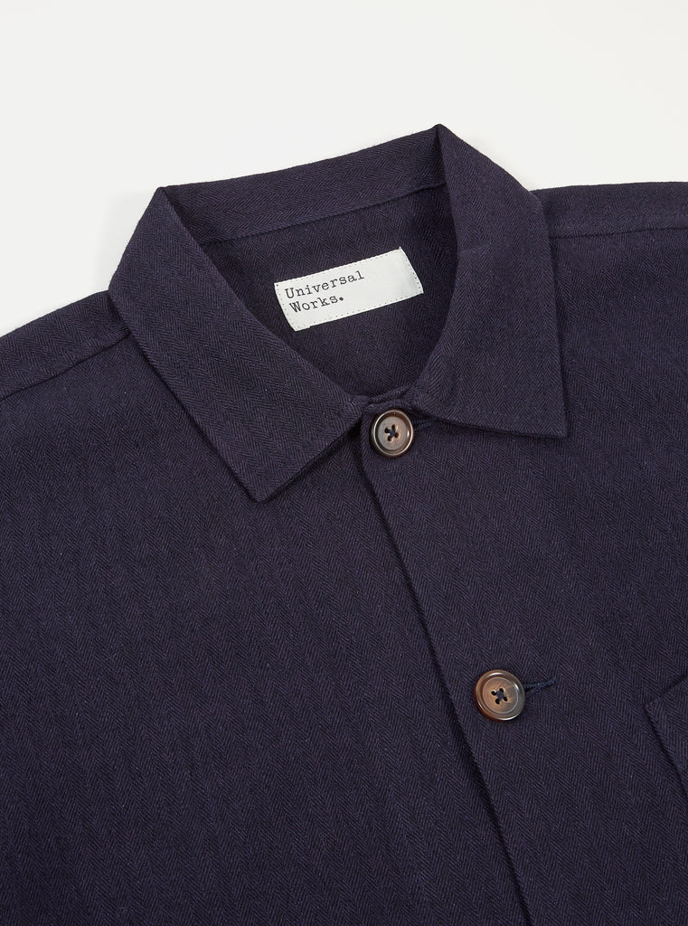 Universal Works Bakers Overshirt in Navy Herringbone Wool