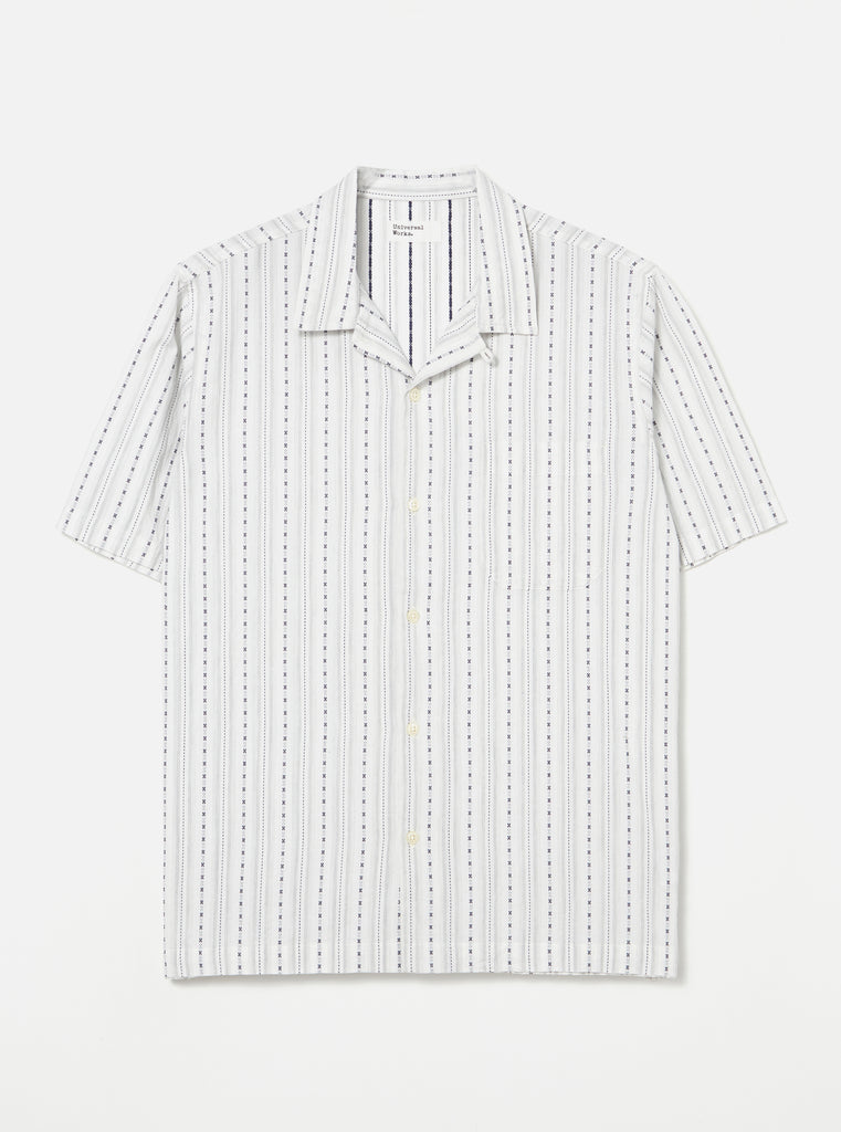 Universal Works Road Shirt in Ecru Western Stripe
